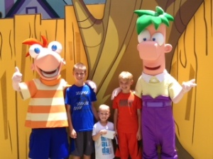 My boys with Phineas and Ferb at Disney's Hollywood Studios.